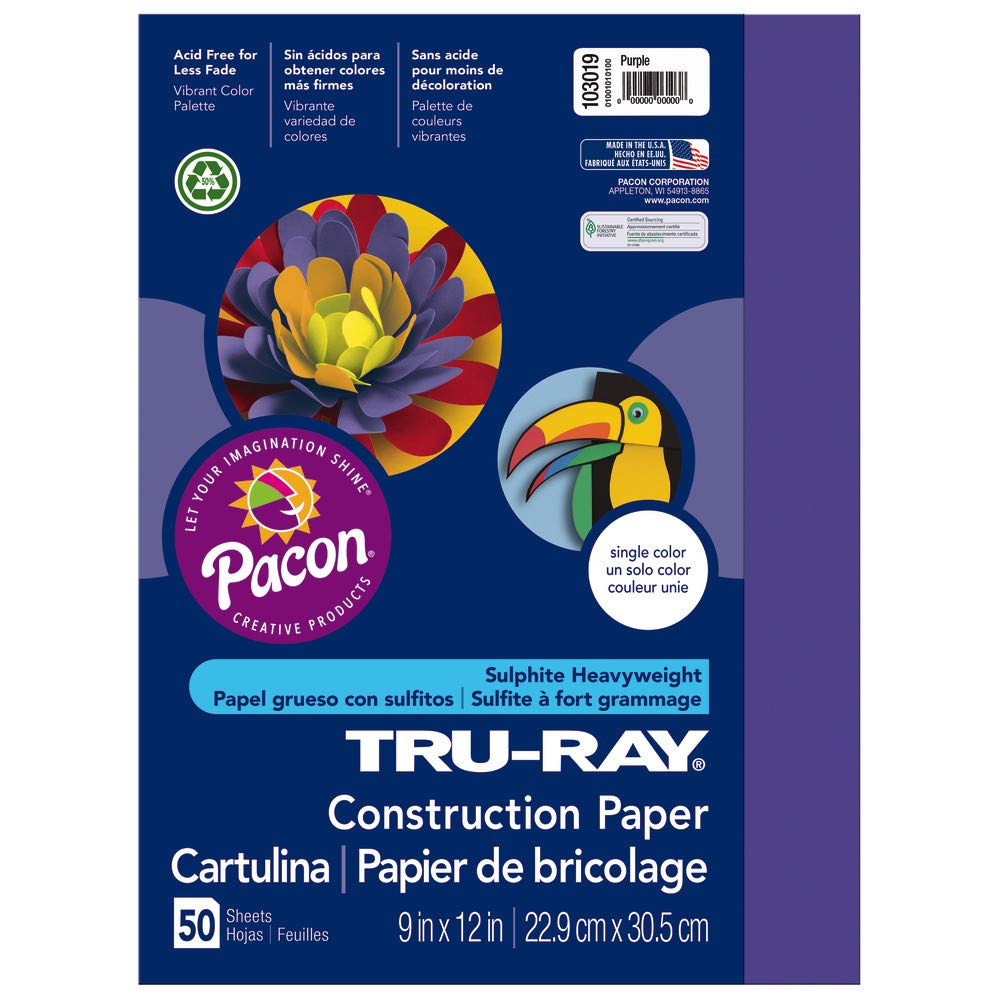 Tru-Ray Heavyweight Construction Paper, Purple,  9'' x 12'', 50 Sheets