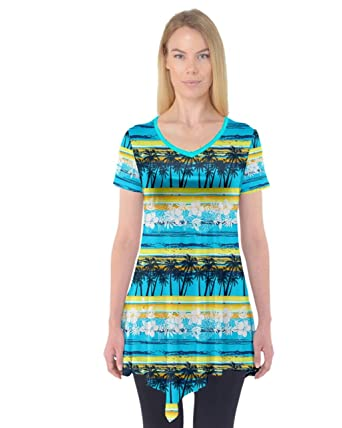 ad75c4d27b061 PattyCandy Womens Aqua Stripes Palm Trees Holiday Short Sleeve Tunic Top -  XS