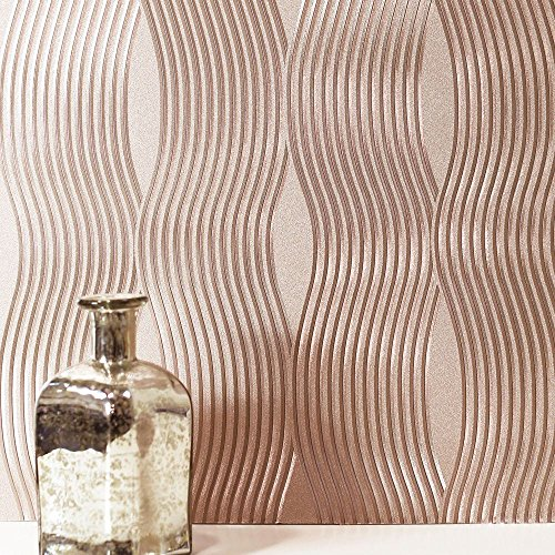 Gold Foil Wallpaper - Foil Wave Wallpaper Rose Gold Arthouse 294500