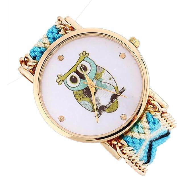 Las mujeres búho patrón bescita tejer Dial cuarzo reloj de pulsera ...