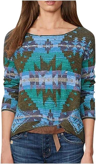 Women Loose Long Sleeve T-Shirt Tunic Pullover Geometric Print V Neck Tops Tees