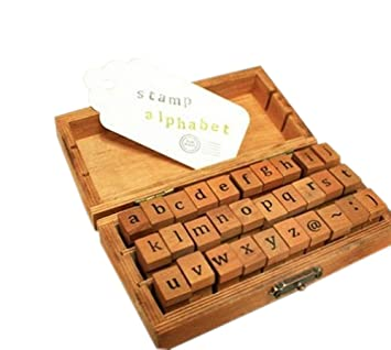 Holz Stempel Set Box Stempelset Alphabet Buchstaben Stamp Letters Kleinbuchstaben