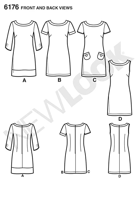 Amazon.com: Simplicity Creative Patterns New Look 6176 Misses Dress with Sleeve Variations, A (8-10-12-14-16-18): Arts, Crafts & Sewing