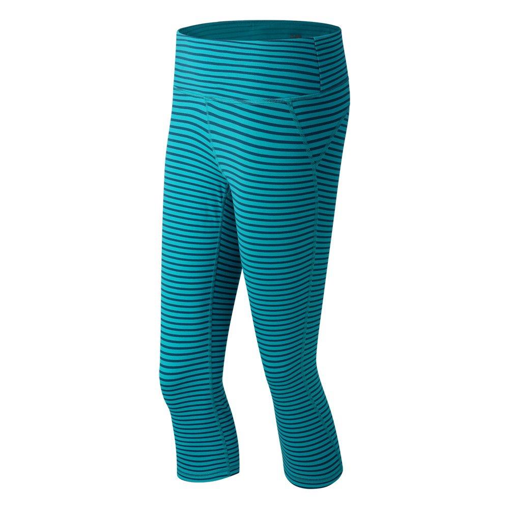 New Balance Women's Premium Performance Printed Fitted Capri, Sea Glass Deep Water, Large