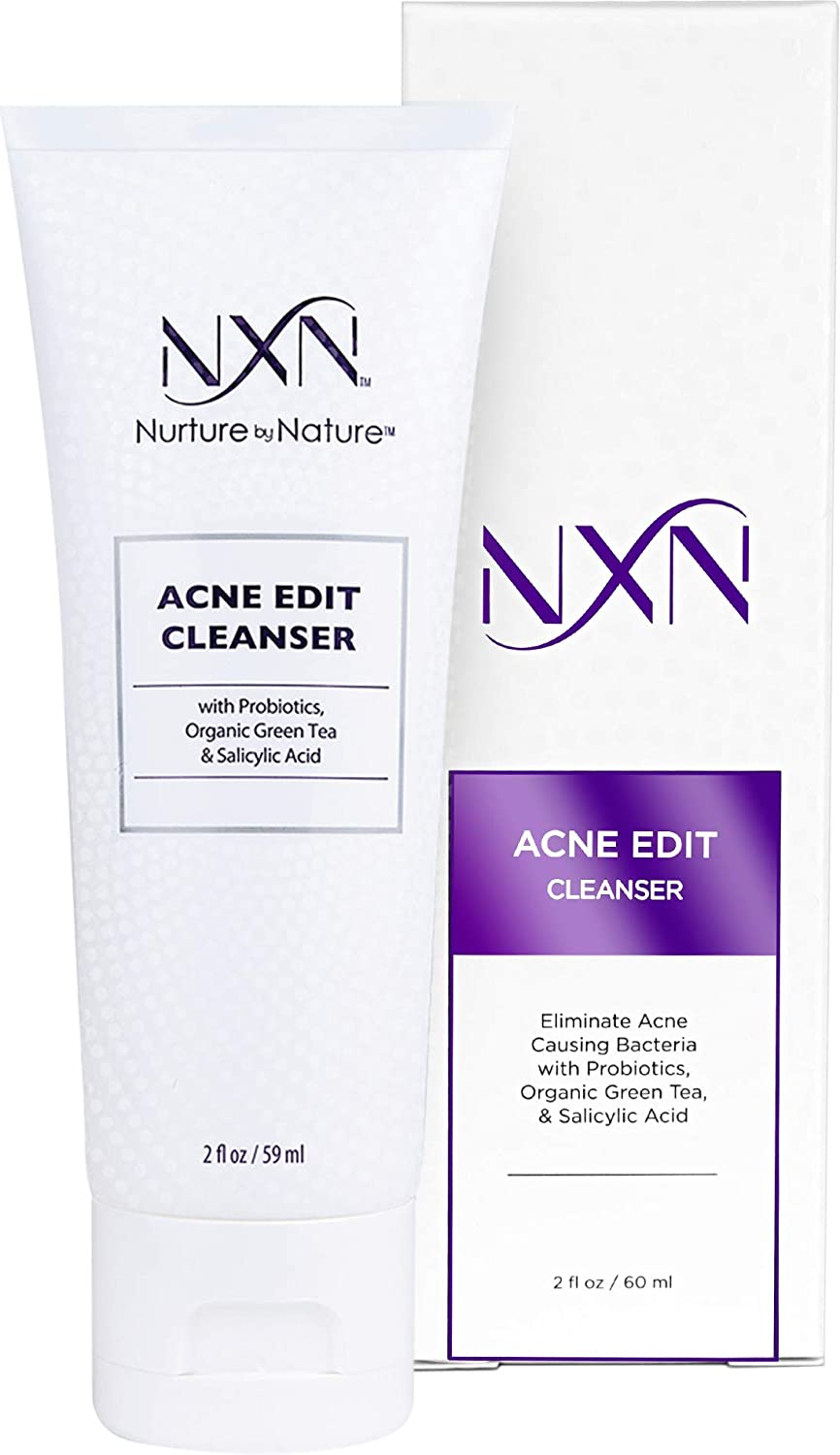 NxN Acne Facial Cleanser - Face Wash with Salicylic Acid, Green Tea & Probiotics to Heal Skin, Prevent Blemishes & Breakouts