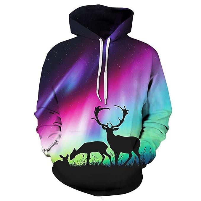 W-WORDEW Colorido Aurora Reindeer Sudadera 3D Sudadera con Capucha Streetwear Y Venta Al por Mayor: Amazon.es: Ropa y accesorios