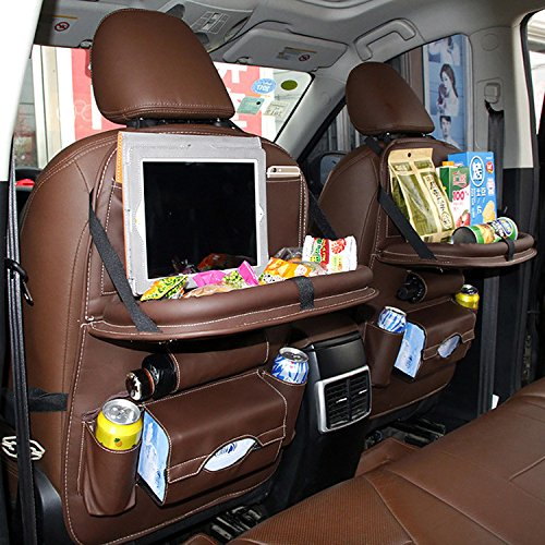 Price comparison product image EVAJULLY Car Back Seat Organizer with Kids Toy Bottles Storage Foldable Dining Table ,8 Compartments including iPad Holder