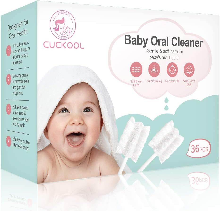 Baby Toothbrush, Infant Toothbrush Clean Baby Gums Disposable Tongue Cleaner Gauze Toothbrush Infant Oral Cleaning Stick Dental Care for 0-36 Month Baby