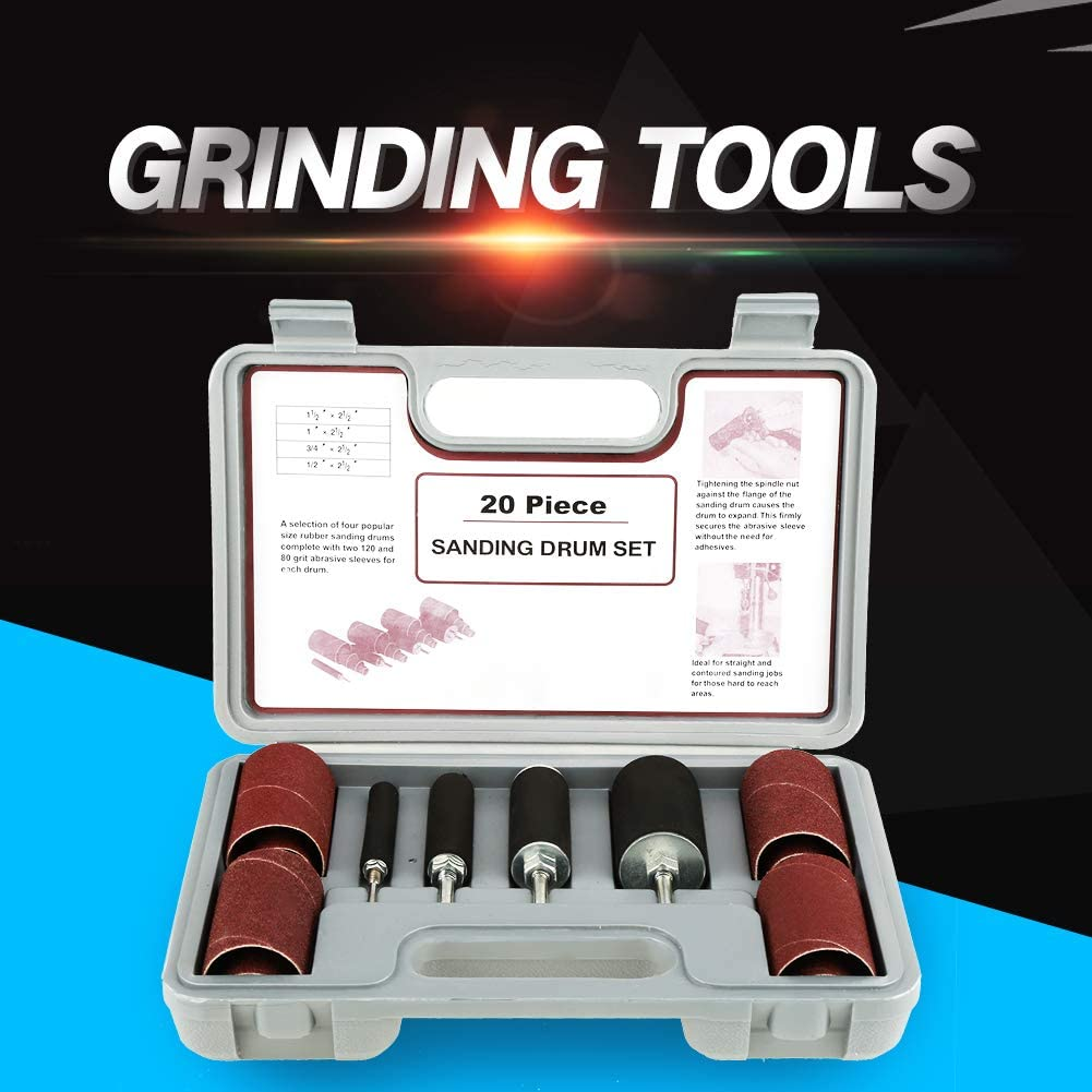 Rubber Drum 20pcs Spindle Sanding Drum Sander Tool Kit Set with Case for Drill Press