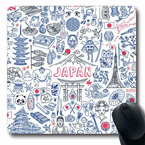 LifeCO Computer Mousepads Sumo Sketch Food Doodle Characters On Bottle Fish Translation Sake Tokyo Map Fuji Design Culture Oblong Shape 7.9 x 9.5 Inches Oblong Gaming Mouse Pad Non-Slip Rubber