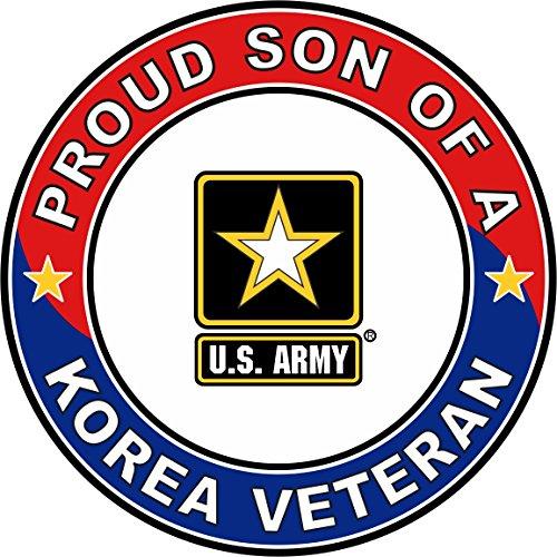 "Military Vet Shop U.S. Army Proud Son a Korea Veteran Window Bumper Sticker Decal 3.8"""