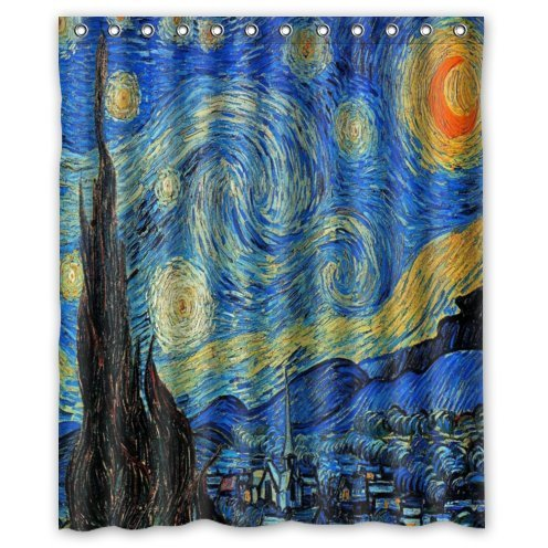 Special Design Starry Night by Vincent Van Gogh Waterproof Bathroom Fabric Shower Curtain,Bathroom decor 60