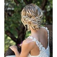Unicra brud bröllop hårkam silver kristall huvudbonad elegant brud blomma hårtillbehör för kvinnor och flickor