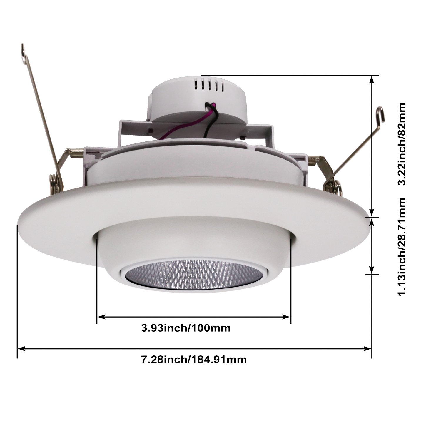 TORCHSTAR High CRI90+ 6inch Dimmable Gimbal Recessed LED Downlight, 10W (75W Equiv.), ENERGY STAR, 5000K Daylight, 950lm, Adjustable LED Retrofit Lighting Fixture, 5 YEARS WARRANTY, Pack of 4 by TORCHSTAR (Image #8)