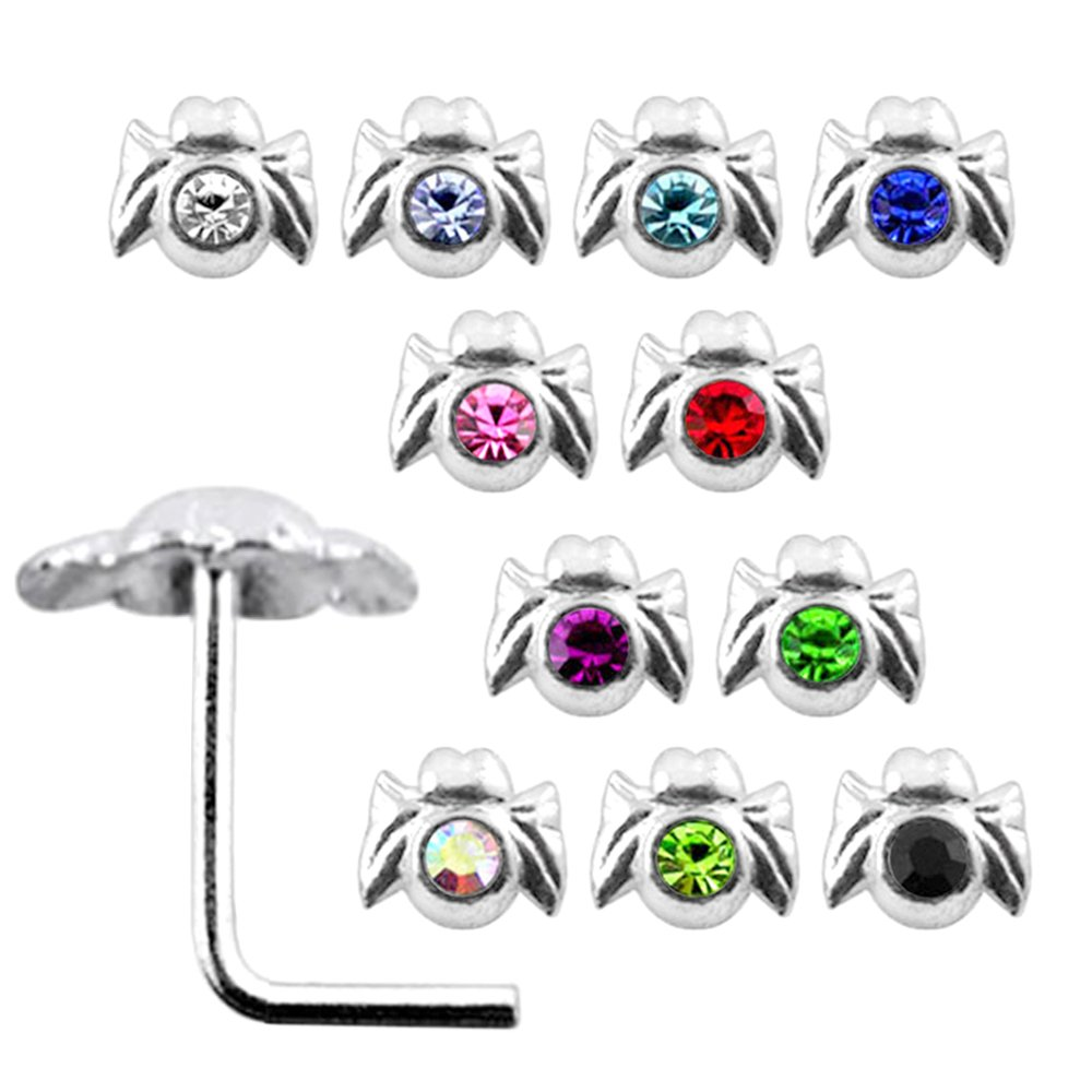 20 Pieces Box Set of Jeweled Spider Top Sterling Silver L Bend Nose Stud Jewelry
