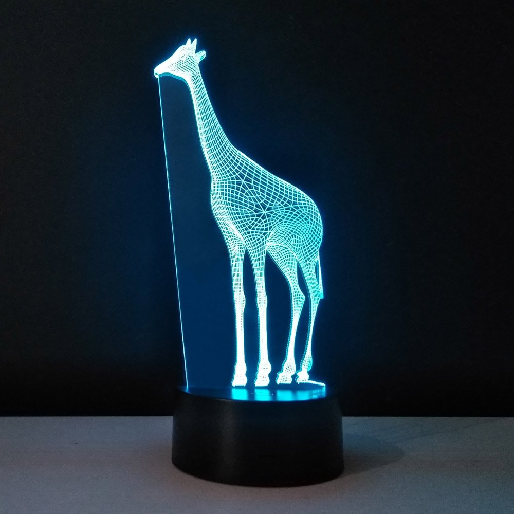 3D Giraffe Desk Lamp Cartoon Animal Illusion Light Amazing LED Baby Lamp with USB Power Lamp for Kids Room Decoration Lighting