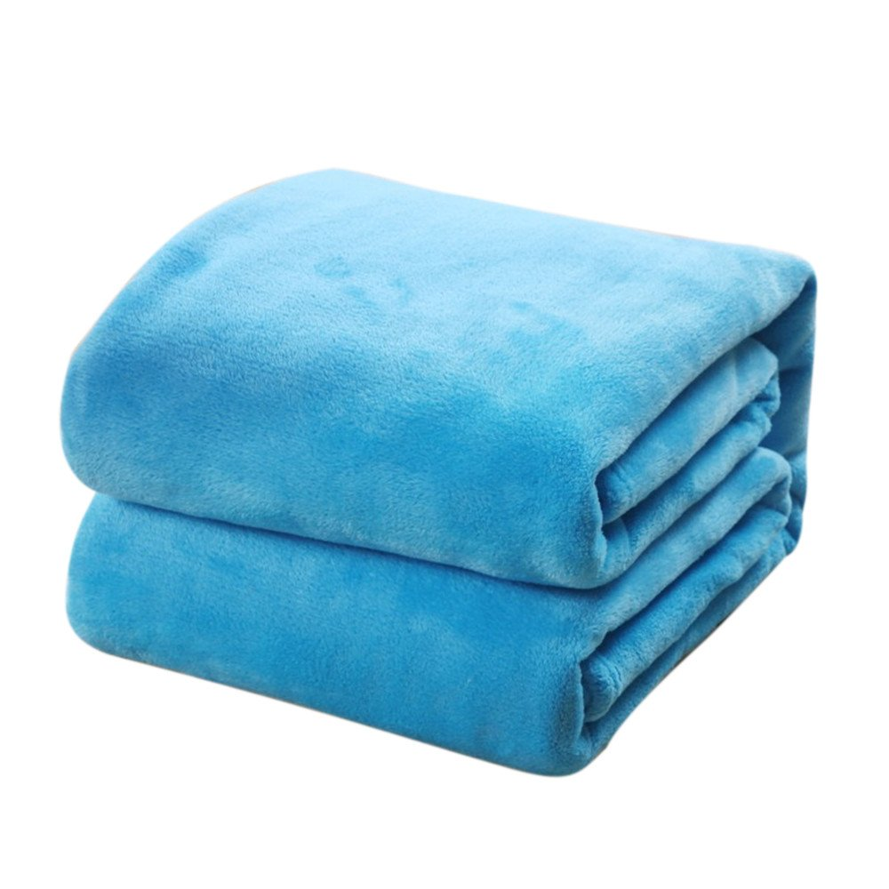 Super Soft Warm Solid Warm Micro Plush Fleece Blanket Throw Rug Sofa Bedding Solid Blanket (White) Coral