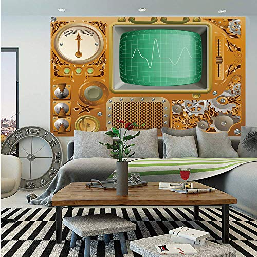 Copper Decor Wall Mural,Industrial Victorian Style Grunge Steampunk Theme TV Gauger Clockwork,Self-Adhesive Large Wallpaper for Home Decor 55x78 inches,Orange Green Silver (A Clockwork Orange Best Scenes)