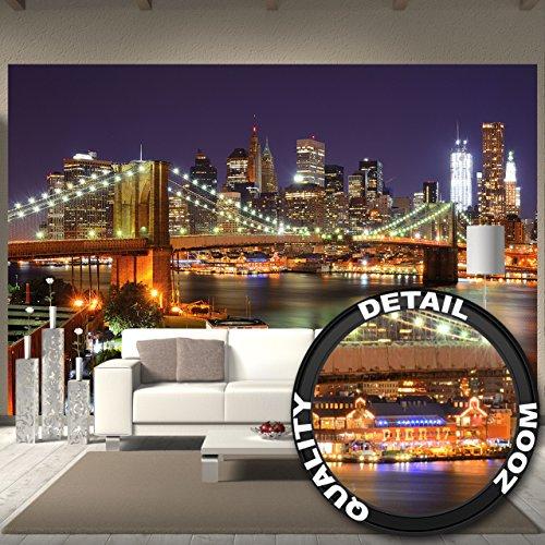 Fototapete Brooklyn Bridge Wand-dekoration - Wandbild New York Poster-Motiv by GREAT ART (336 x 238 cm)