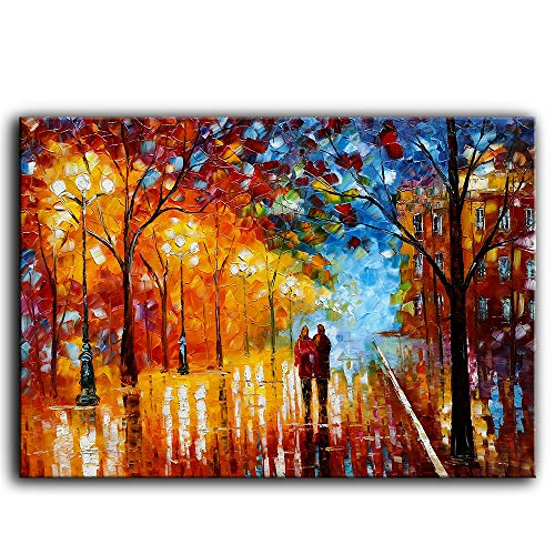Tyed Art- Landscape Oil Painting On Canvas Textured Tree Lover Rain Street Tree Lamp Palette Knife Abstract Contemporary Art Wall Paintings Home Office Decorations Canvas Wall Art Painting 24x36inch