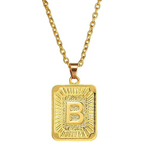 48b88ec8cb4ea AOASK Initial Letter A-Z Square Pendant Gold Plated Charm Necklace ...