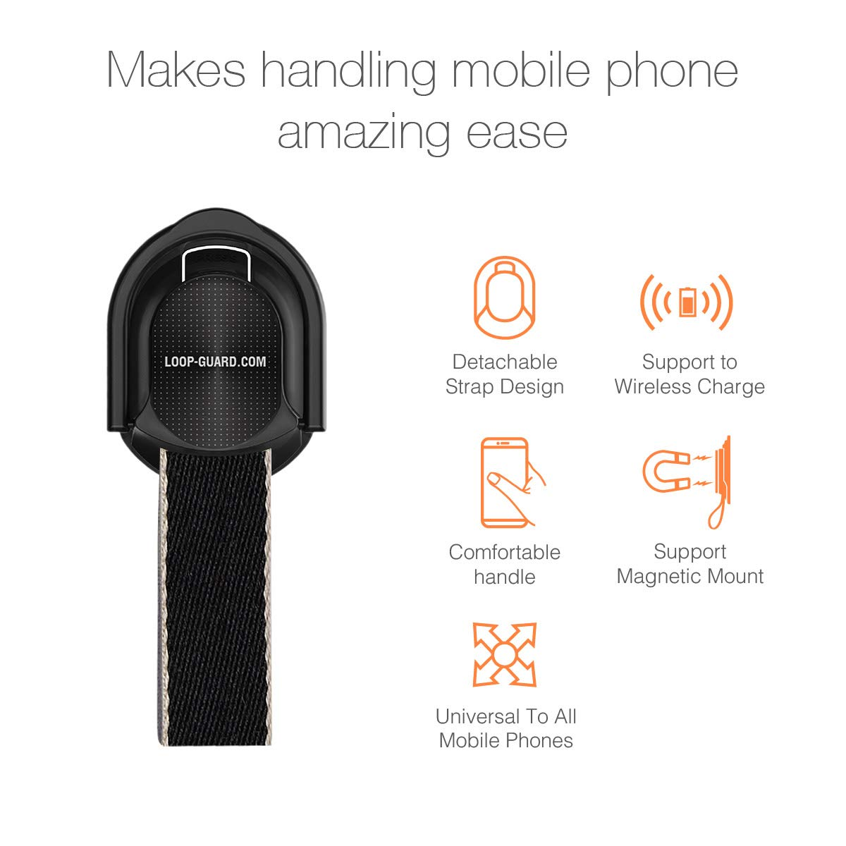 LAVAVIK Cell Phone Grip,Universal Finger Strap Loop with Stand for Smart Phones,Support Wireless Charging /& Magnetic Mount Flower