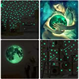 YOTINO 216 PCS Glow in Dark Stars and 30cm Moon Stickers, Removable Glow in The Dark Star Wall Stickers Glowing Ceiling Wall Decals, Glowing Meteors for Kids Bedroom