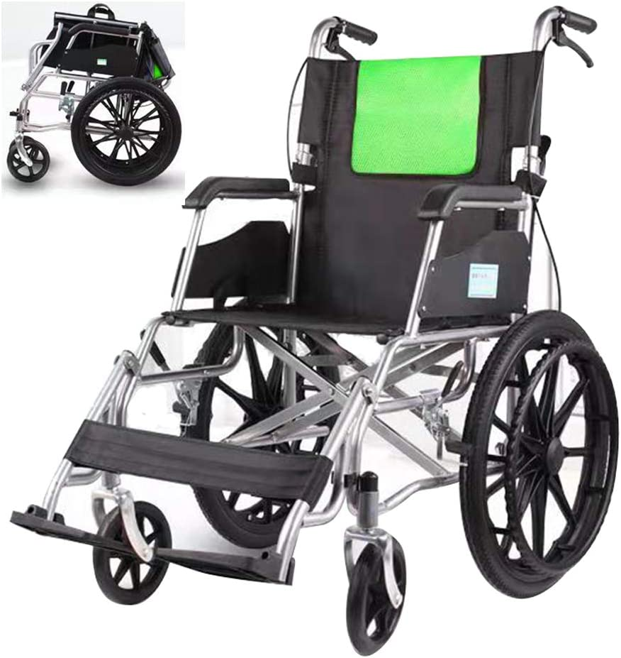 Sillas de ruedas asistidas y de transporte Silla de ruedas ligera, carro de malla celular transpirable plegable, Ccooter de viaje para ancianos, neumáticos sólidos de 20 pulgadas, con pedal y freno