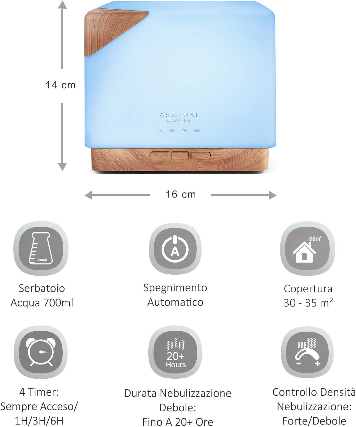 700ml HOME GRANDE SERIE 12 PZ LED Aroma Diffusore Olio essenziale Umidificatore Aria