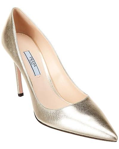 6f269206d0 Amazon.com | Prada 100 Pointy-Toe Metallic Saffiano Leather Pump ...