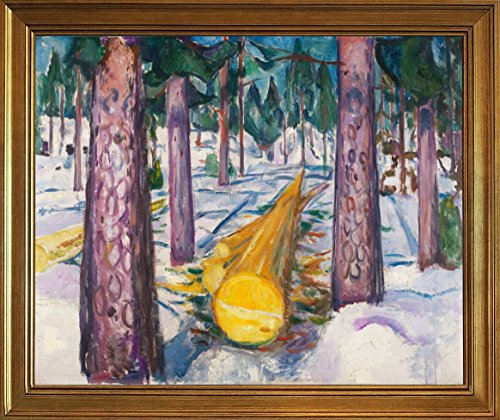 Berkin Arts Classic Framed Edvard Munch Giclee Canvas Print Paintings Poster Reproduction (The Yellow Log) ()