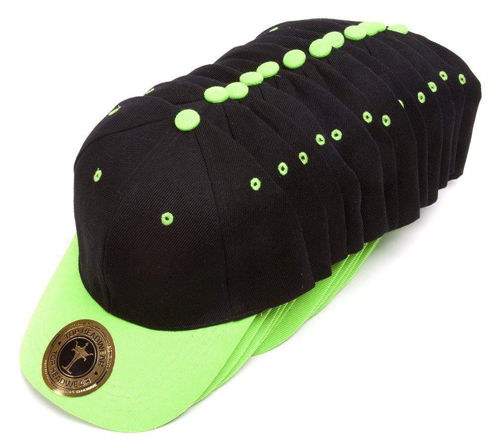 TopHeadwear 12-Pack Adjustable Baseball Hat - Black/Neon Green