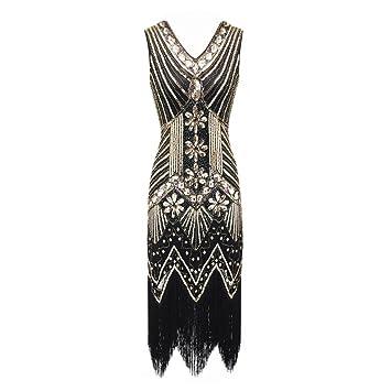 Oyedens 1920 Damen Quaste Gewebt Pailletten Kleider Kleid Abendkleid Flapper  Dress Gastby Kostüm Kleid Frauen 1920er a9076e4354