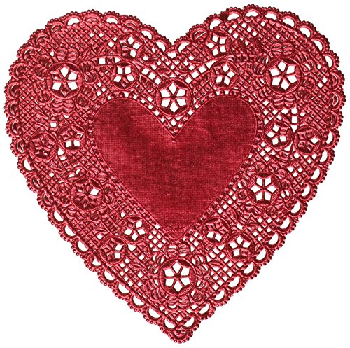 Hygloss Products Heart Doilies - 6 Inch Red Foil Doily for Crafts, Table Settings Made in USA, 18 Pack (26529) from Hygloss