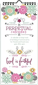 Gina B God is Faithful Perpetual Birthday & Anniversary Calendar, Annual Reminder Calendar with Scripture by Emily Burger