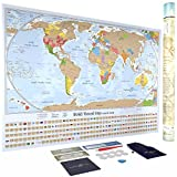 Scratch Off World Map Poster with 232 World Flags - U.S. States and Canadian Provinces Outlined - Designed by U.S. Cartographer - Accessories Included - Perfect for Travelers - 34 in. x 24 in.