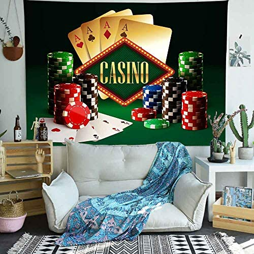 Simsant Casino Party Decorations Tapestry Tarot Poker Cards Gambling Chips Tapestry Wall Hangning Luck Risky Games 80×60 inches SILS275