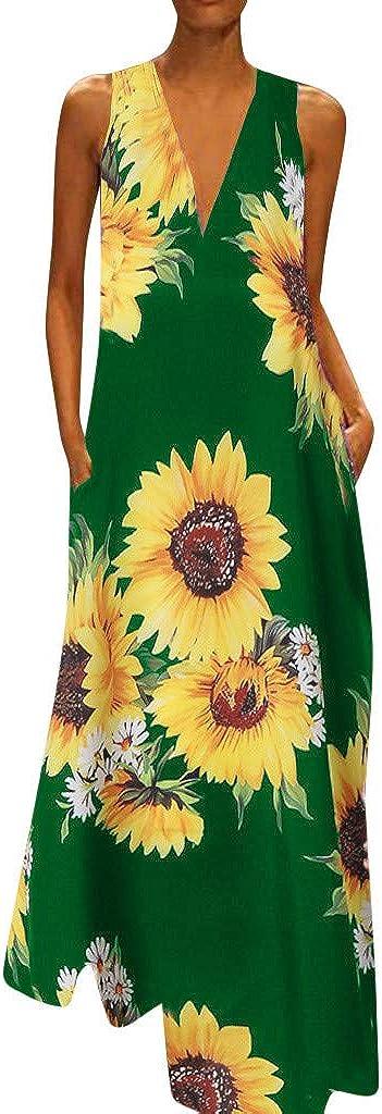 Women Casual Floor Length Long Dress Floral Printed Maxi Dress Sleeveless T Shirt Dress Summer Beach Dress by Lowprofile
