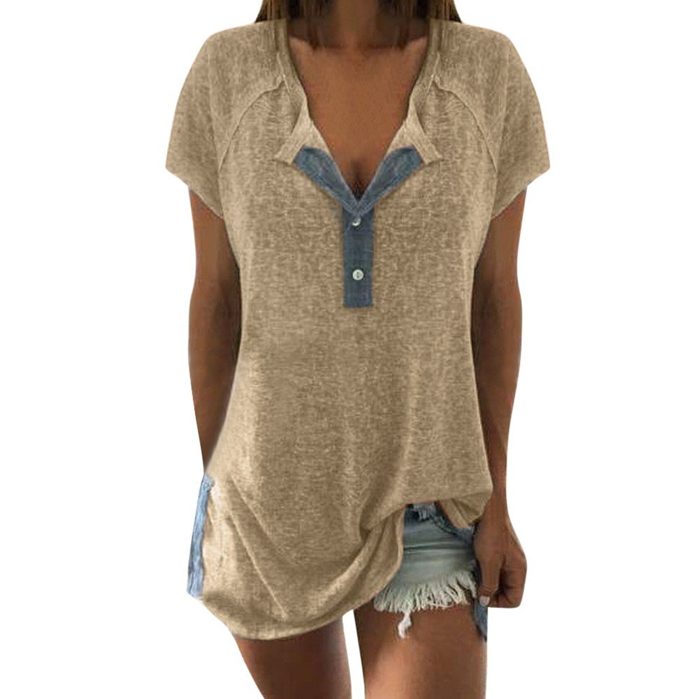 Women Tunic Tops Short Sleeve Henley Neck Sexy Splice Loose Blouse Shirt (L, Beige)