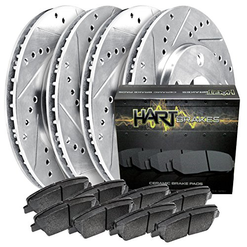 (Fits Infiniti QX56, QX80 Front Rear Drill Slot Brake Rotors+Ceramic Brake Pads)