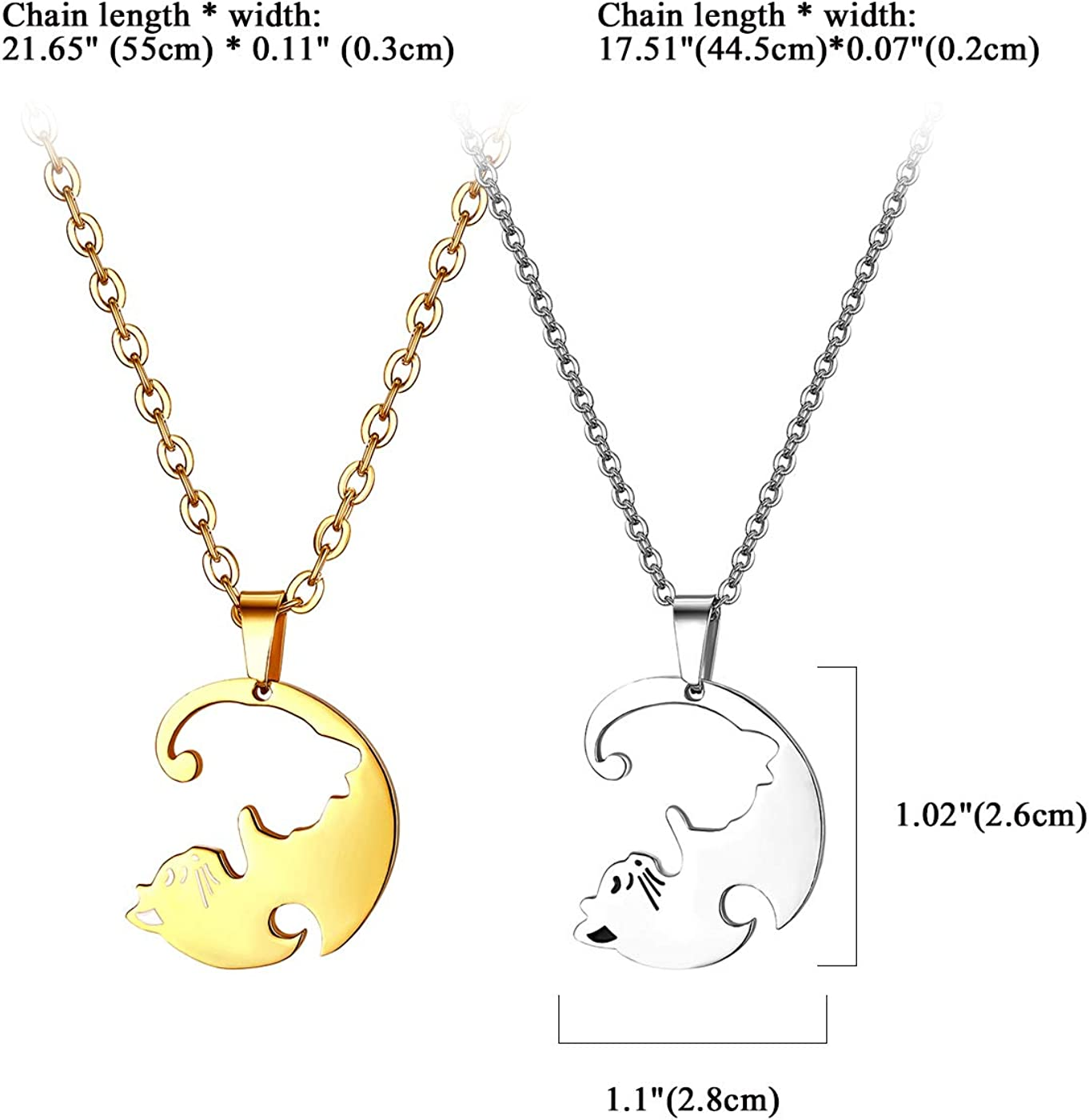 Cupimatch 2 Pcs Kitty Cat Pendant Couples Necklace Stainless Steel Matching Puzzle Love Cat Jewelry Set for Lovers Friends,22 18 Chain