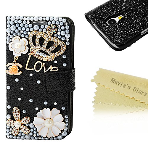 Mavis's Diary Bling Crystal Crown Rhinestone Flower Pearl Diamond Design Sparkle Glitter Leather Wallet Type Magnet Clasp Stand Up Flip Case Cover with Soft Clean Cloth (Samsung Galaxy S4 Mini I9195 GT-i9190, black)