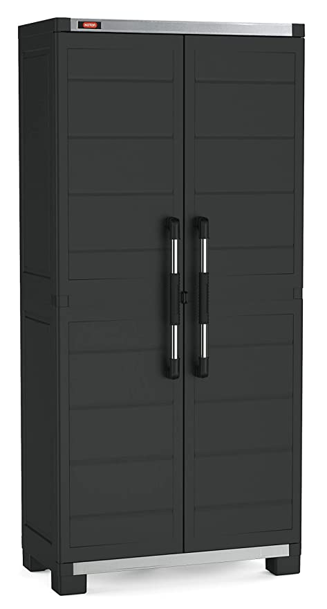 Keter Garage Tall Wardrobe Xl With 3 Shelves Black Amazon Co Uk