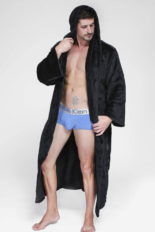 Unisex Plush Sleepwear Hooded Spa Bathrobe Pockets Plus Size