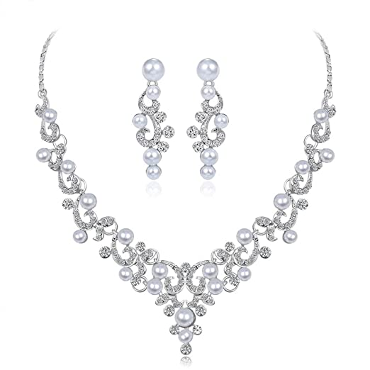 9a78275c3 Image Unavailable. Image not available for. Color: Women's Jewelry Sets,  Hmlai HML-06 Glamorous Alloy Rhinestone Glass V-Necklace Earrings