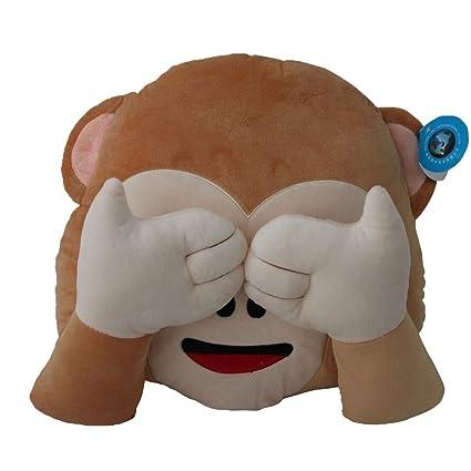 Dolphineshow Soft Plush Emoji Monkey Pillow