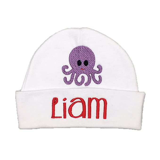 4a0591ea26b49 Personalized Baby hat for a Baby Girl Baby boy with Octopus - Custom  Preemie hat