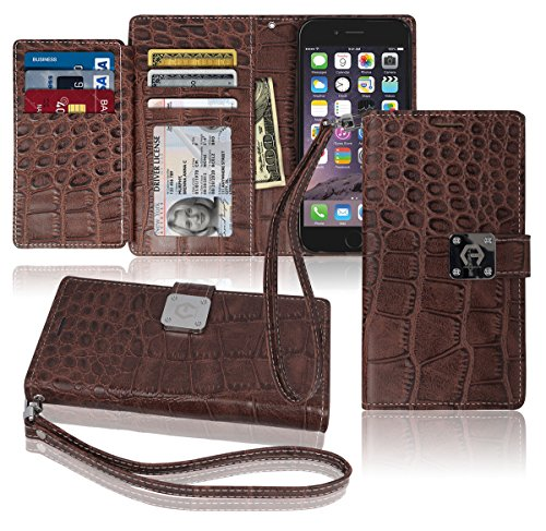 iPhone6s / 6 Wallet Case, Matt [ 8 Pockets ] 7 ID / Credit Card 1 Cash Slot, Power Magnetic Clip With Wrist Strap For Apple iPhone 6 / 6s Leather Cover Flip Diary (Brown)