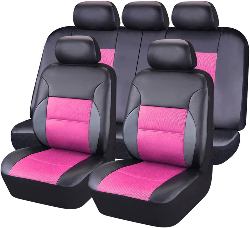 CAR PASS 11PCS Luxurous Leather Universal Car Seat Covers Set ,Universal fit for Vehicles,Cars,SUV,Airbag Compatible (Black and Rose Pink)