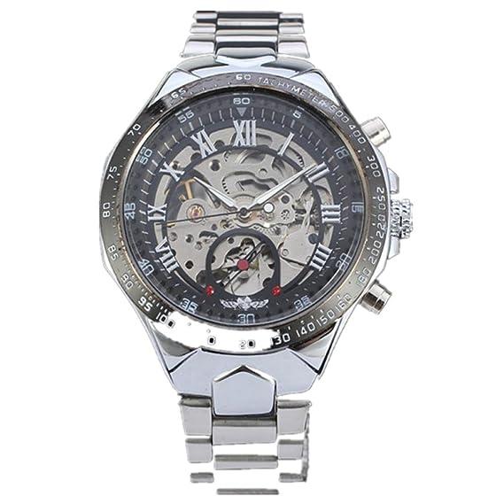 Rawdah Nuevo Esqueleto Relojes Automáticos Para Hombres De Plata De Acero Inoxidable Reloj De Pulsera (plata): Amazon.es: Relojes